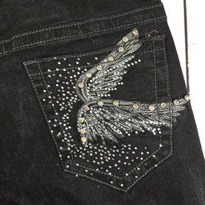 Rock & Republic Black Skinny Jeans w/Angel Wings 6